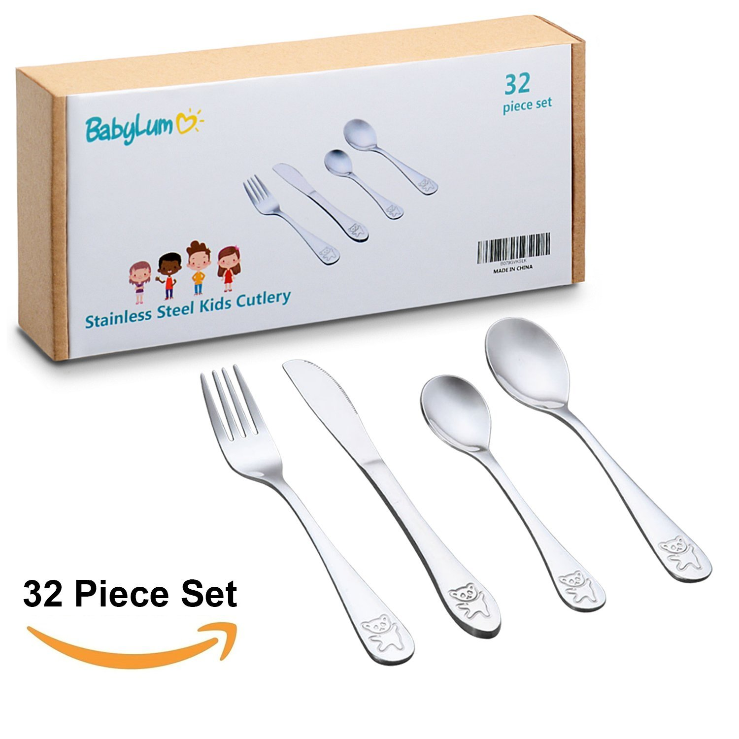 32 Piece Utensils Set for Kids | Stainless Steel Cutlery Flatware | Safe Silverware for Toddler and Child | Total 8 Place Settings with 8 Knives, 8 Forks, 8 Spoons, 8 Dessert Spoons.