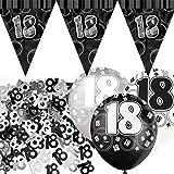 Kit de décoration de fête Noir et Argent 18 ans avec bannière avec fanions