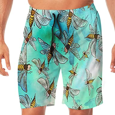 YDXC2FY Mens Beach Shorts Swim Trunks with Elastic Waist Drawstring