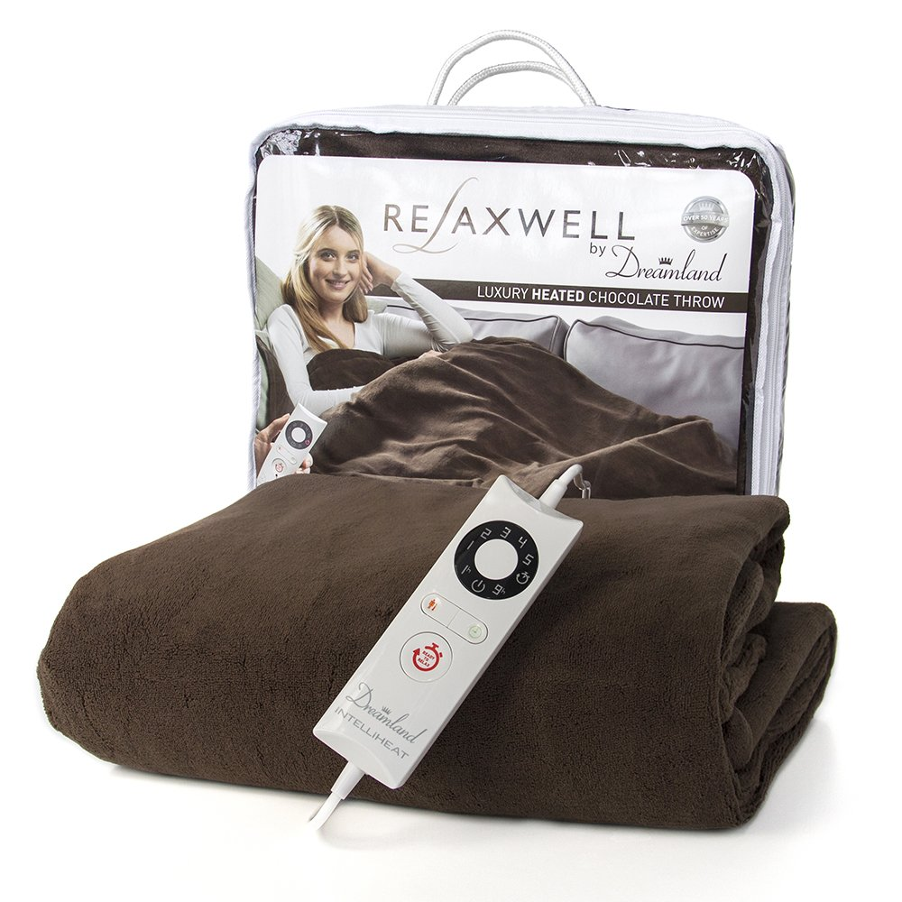 Dreamland Luxury Super Soft Washable Chocolate Microfleece Electric Large Throw (150cm x 90cm) – Rapidly Heats Up In Only 5 Minutes Imetec UK Ltd 16333