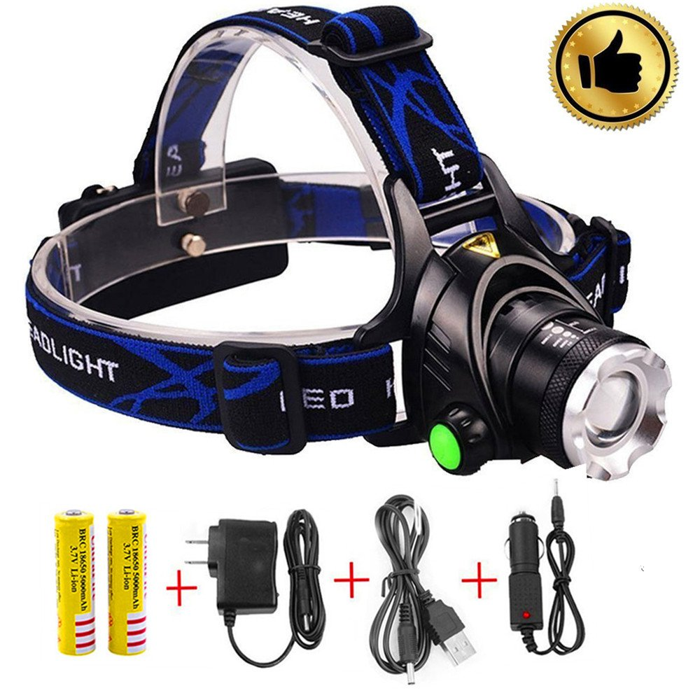 Led Headlamp Flashlight,Super Bright Headlight,Waterproof Hard Hat Light,Zoomable Led Track Light 3 Modes Rechargeable Battery Powered Hands-free Perfect for Riding,Fishing,Camping,Outdoor Sports