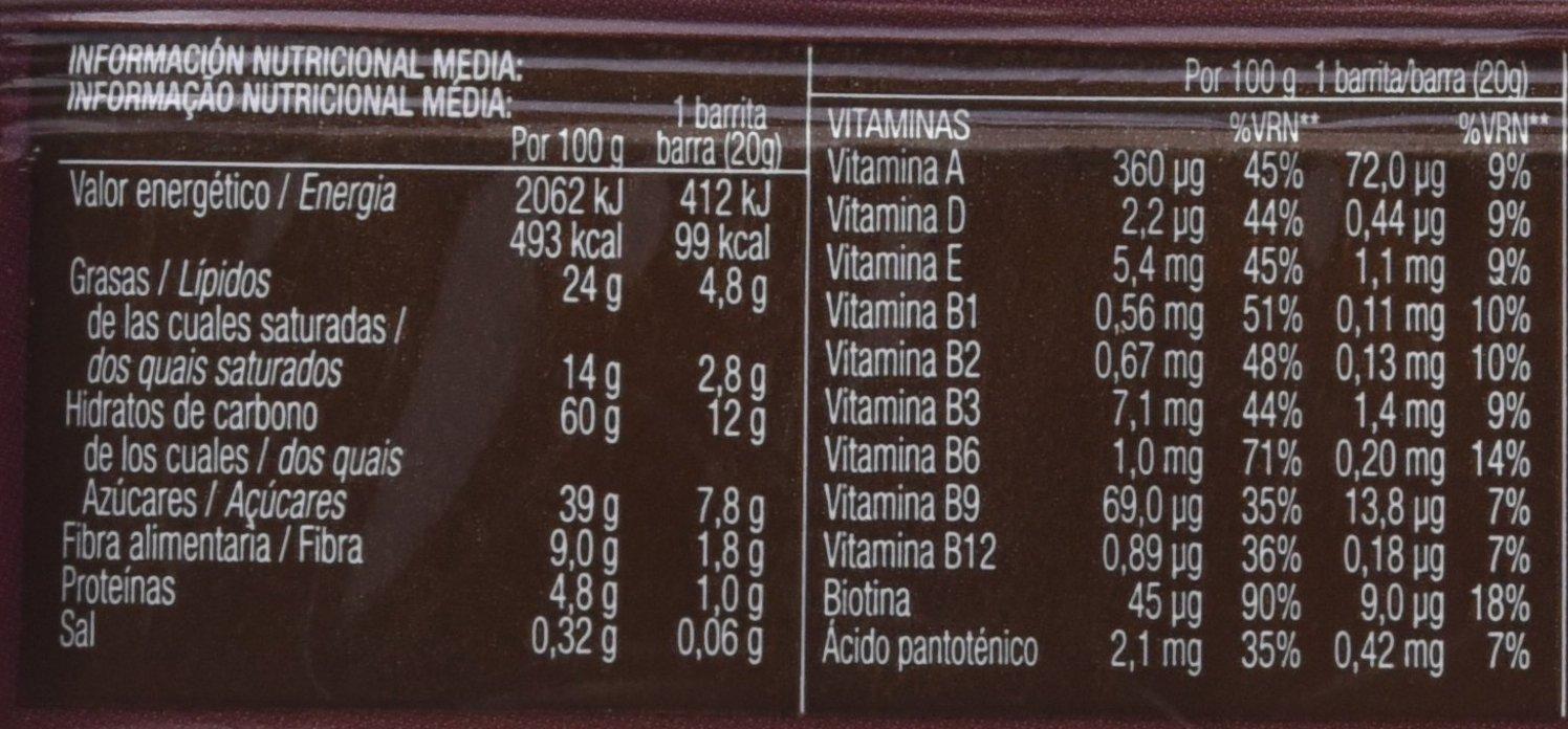 Bicentury - Sarialis - Barritas de cereales y chocolate negro - 20 unidades: Amazon.es: Alimentación y bebidas