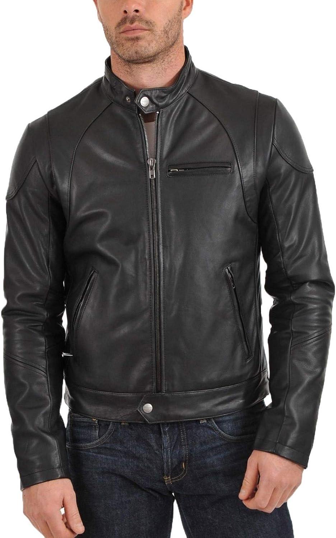brandMe Mens Genuine Leather Pure Lambskin Biker Jacket MM433