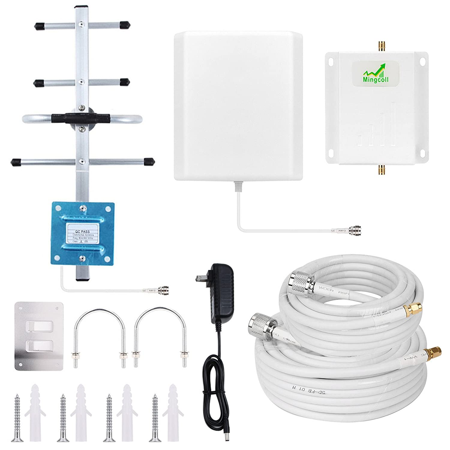 Cell Phone Signal Booster Repeater Home 4G LTE 700MHz Band 13 Verizon Cell Booster Phone Signal Repeater Mingcoll FDD Cellular Cellphone Signal Amplifier Booster with Panel/Yagi Antenna (WV70-NN1)