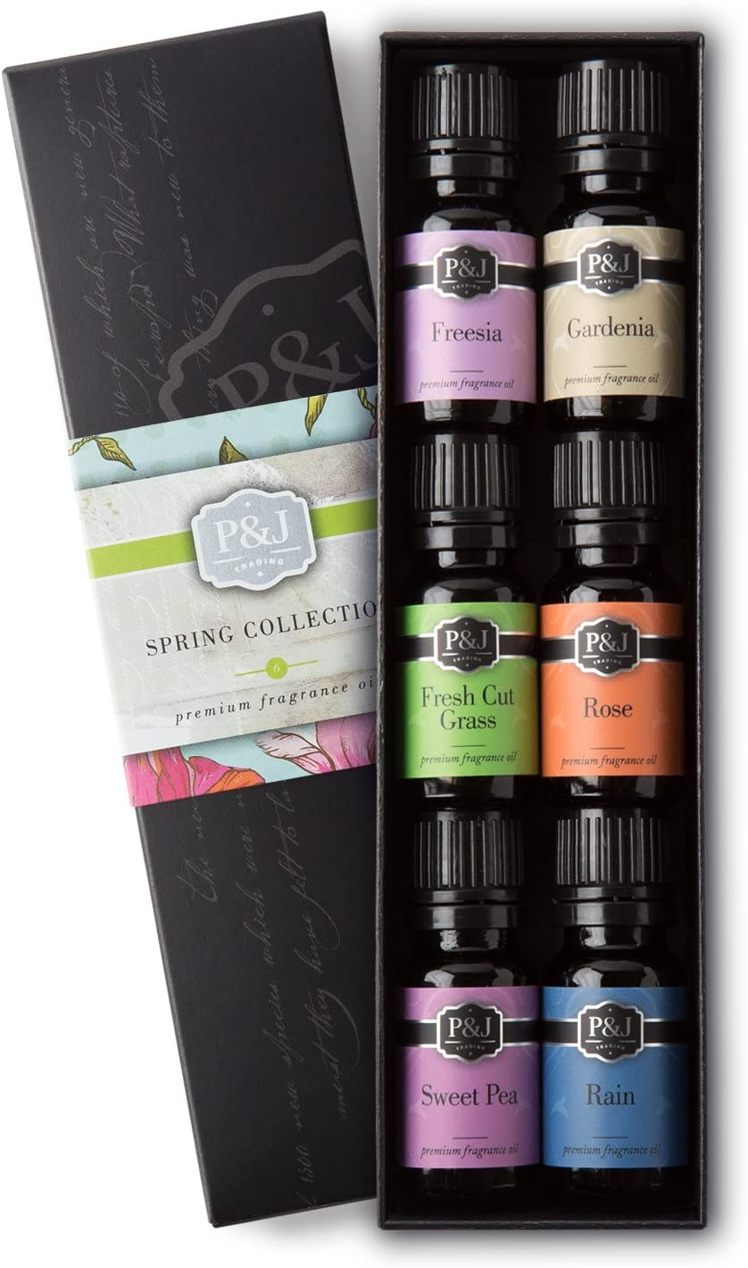 P&J Trading Spring Set of 6 Premium Grade Fragrance Oils - Gardenia, Sweet Pea, Fresh Cut Grass, Rain, Freesia, Rose - 10ml