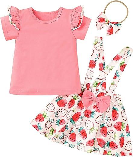 ملابس أطفال بناتي الرضع بكشكشة قصيرة الأكمام علوية للأطفال الرضع تنورة بعقدة شريطية عصابة رأس 3 قطع فستان إجمالاً للفتيات