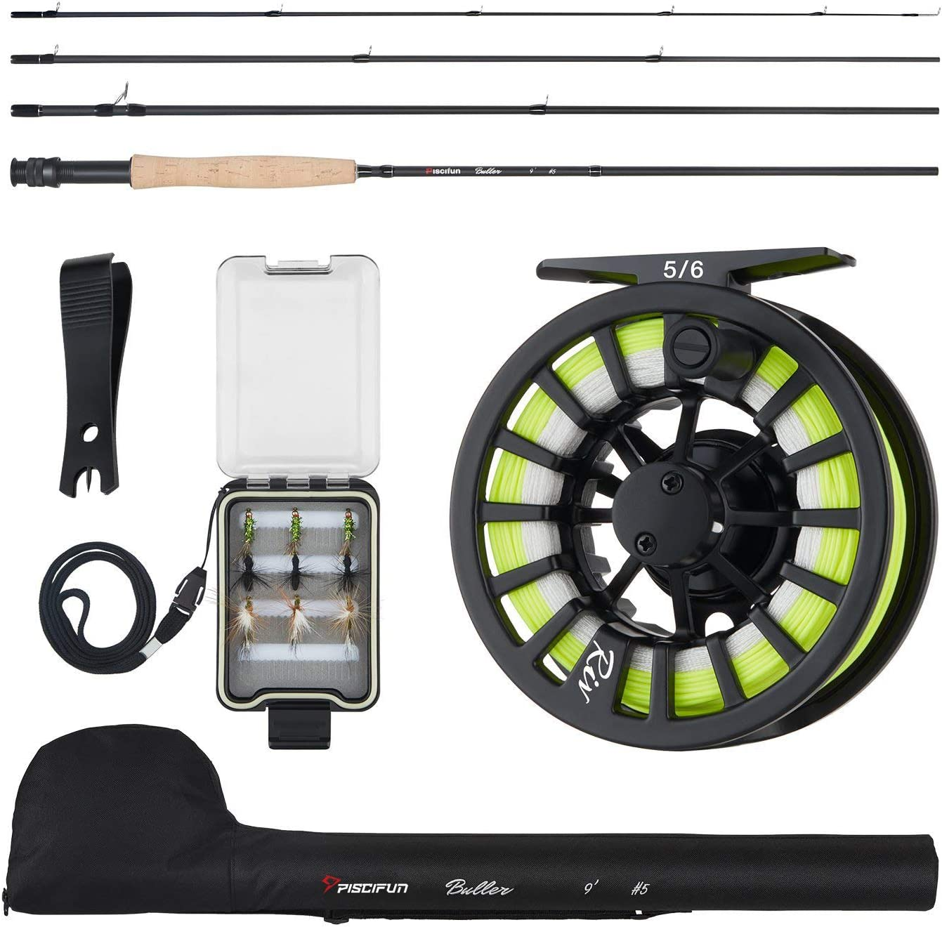Amazon Com Piscifun Fly Fishing Rod And Reel Combo Fly Fishing Complete 5 6 Starter Package Fly Fishing Kit For Beginners Sports Outdoors