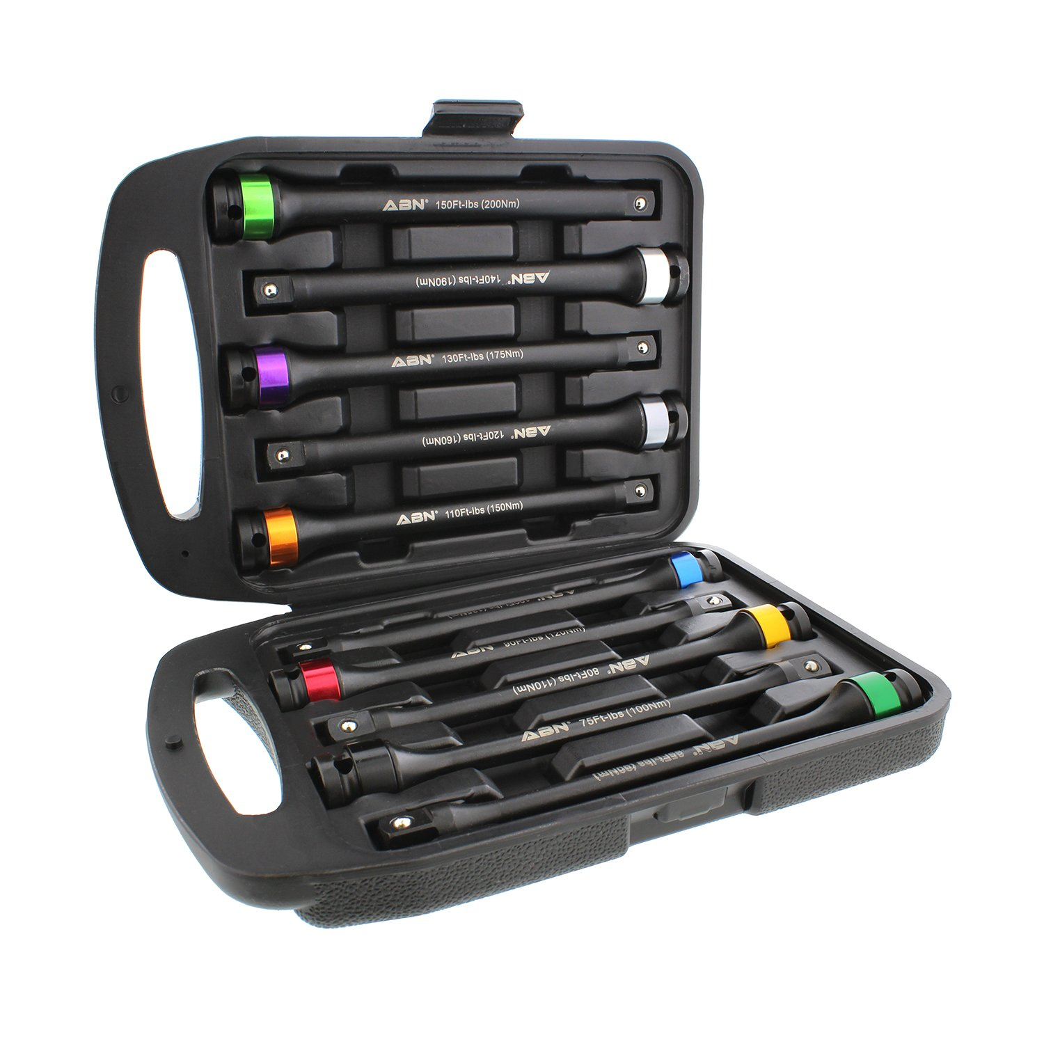 ABN 1/2in Drive 8in Long Color-Coded Torque Limiting Socket Extension Bar 10pc Tool Kit 65-150 ft/lb Set by ABN
