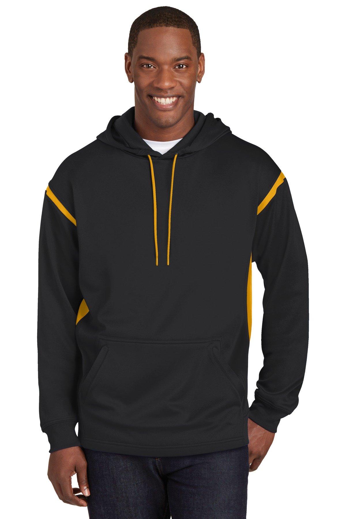 Sport-Tek Tall Tech Fleece Colorblock Hooded Sweatshirt 4XLT Black/ Gold by Sport-Tek