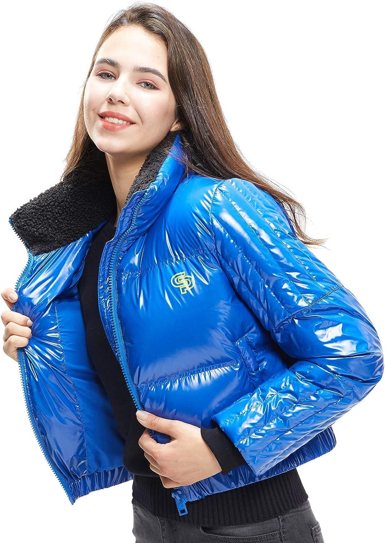 Extreme Pop Piumino Donna Lucido in Piuma DOca Stampa Grafica Collo Alto Cappotto Invernale Marchio UK