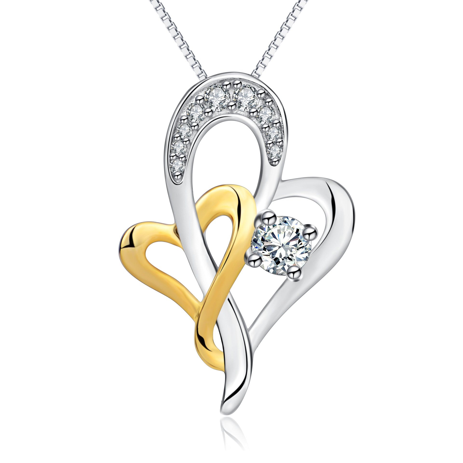 necklace dancing tone yellow two design diamond gold img contemporary pendant wave in white
