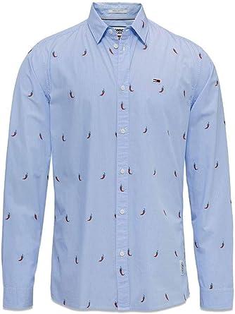 TOMMY HILFIGER HOME - Camisa de Manga Larga Hombre Color: BlaucelAzul Talla: L: Amazon.es: Ropa y accesorios