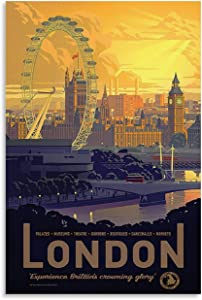 HEIGOU Vintage Travel Poster London England Art Deco Canvas Art Poster and Wall Art Picture Print Modern Family Bedroom Decor Posters 24x36inch(60x90cm)
