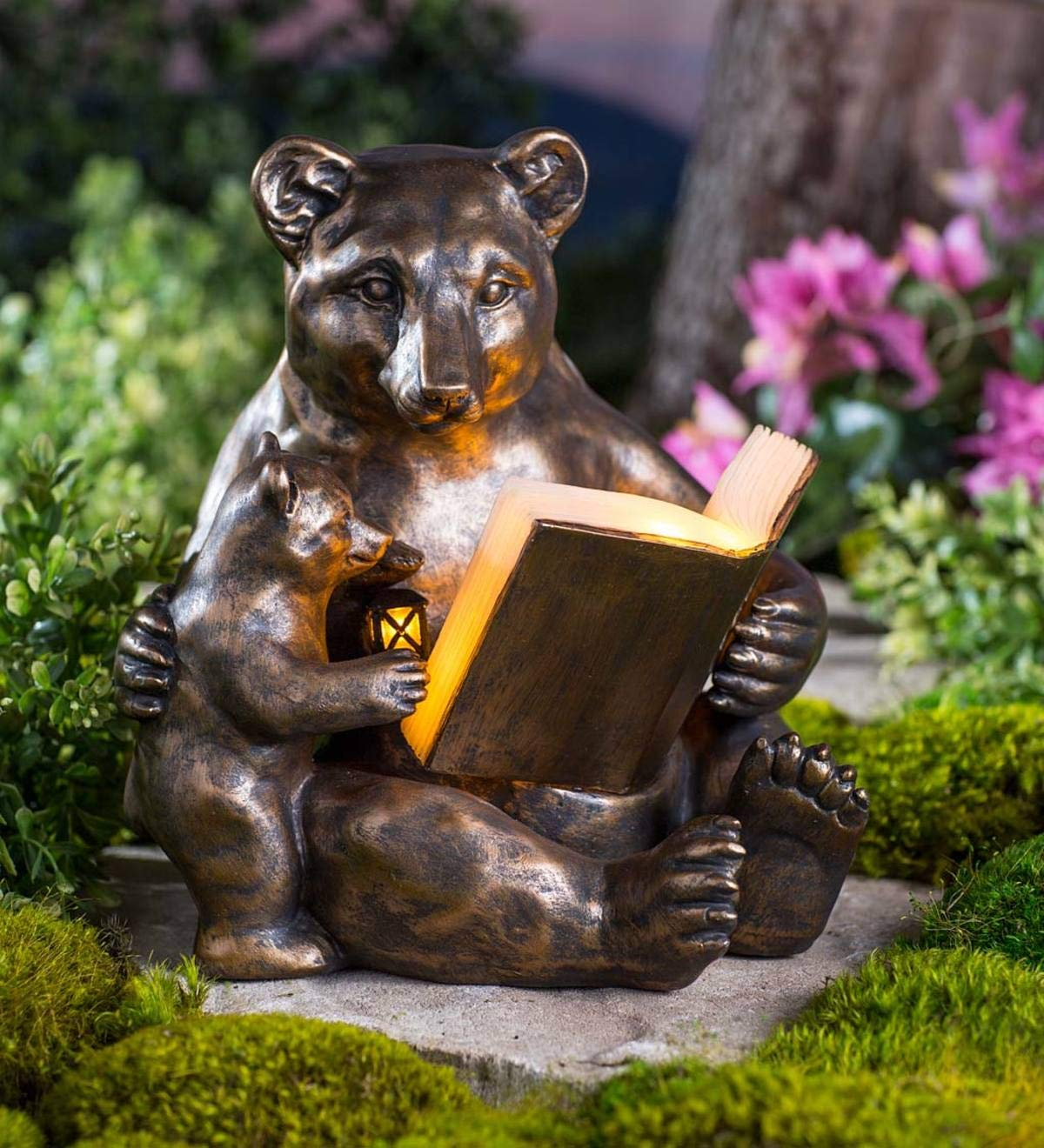 Wind /& Weather Mama and Baby Reading Bears Statue Bronze