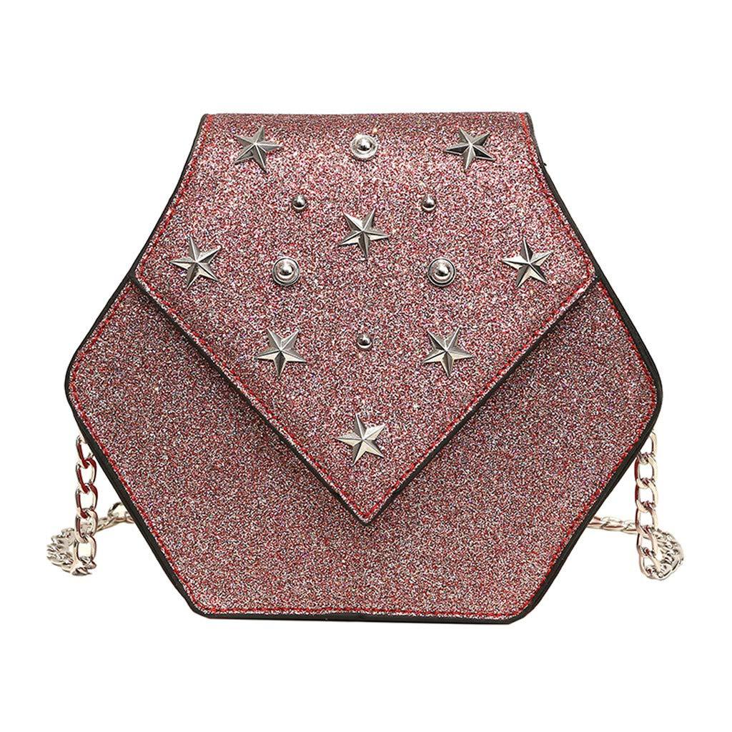 DZTZ Women Sequins Star Leather Crossbody Bag Messenger Bag Chain Beach Bags (Red) by DZTZ