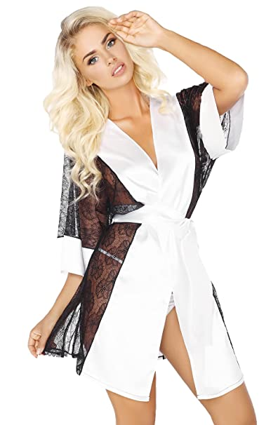 0acf4835e97 Stunning Sexy White Satin Black Lace Mid Length Dressing Gown Robe   Thong  Set S