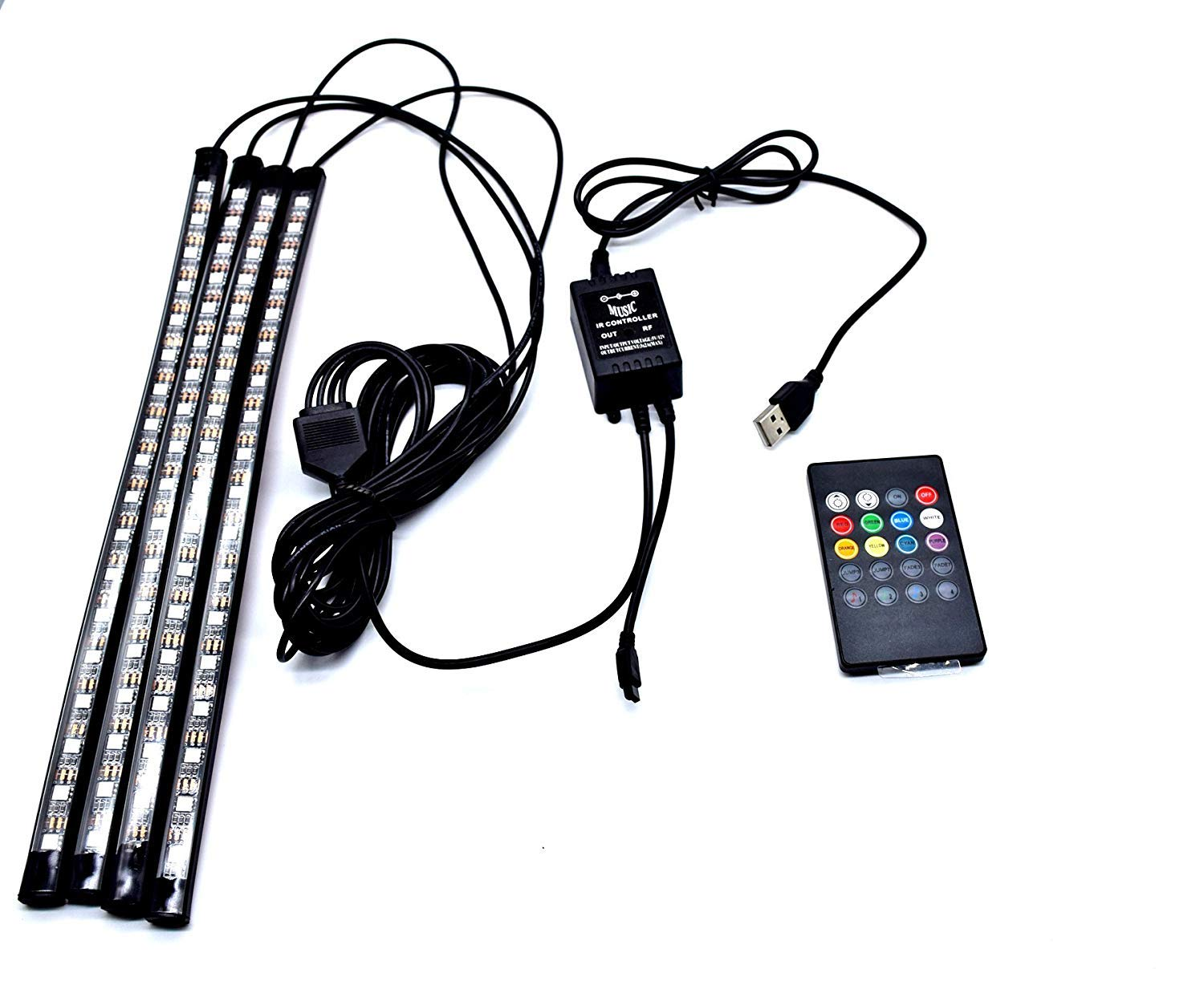 Car LED Strip Lights, 4pcs 48 LED Multicolor Music Interior Strip Lights Under Dash Lighting Waterproof Kit with Sound Active Function and Wireless Remote Control, USB Conncter, DC 12V YJM