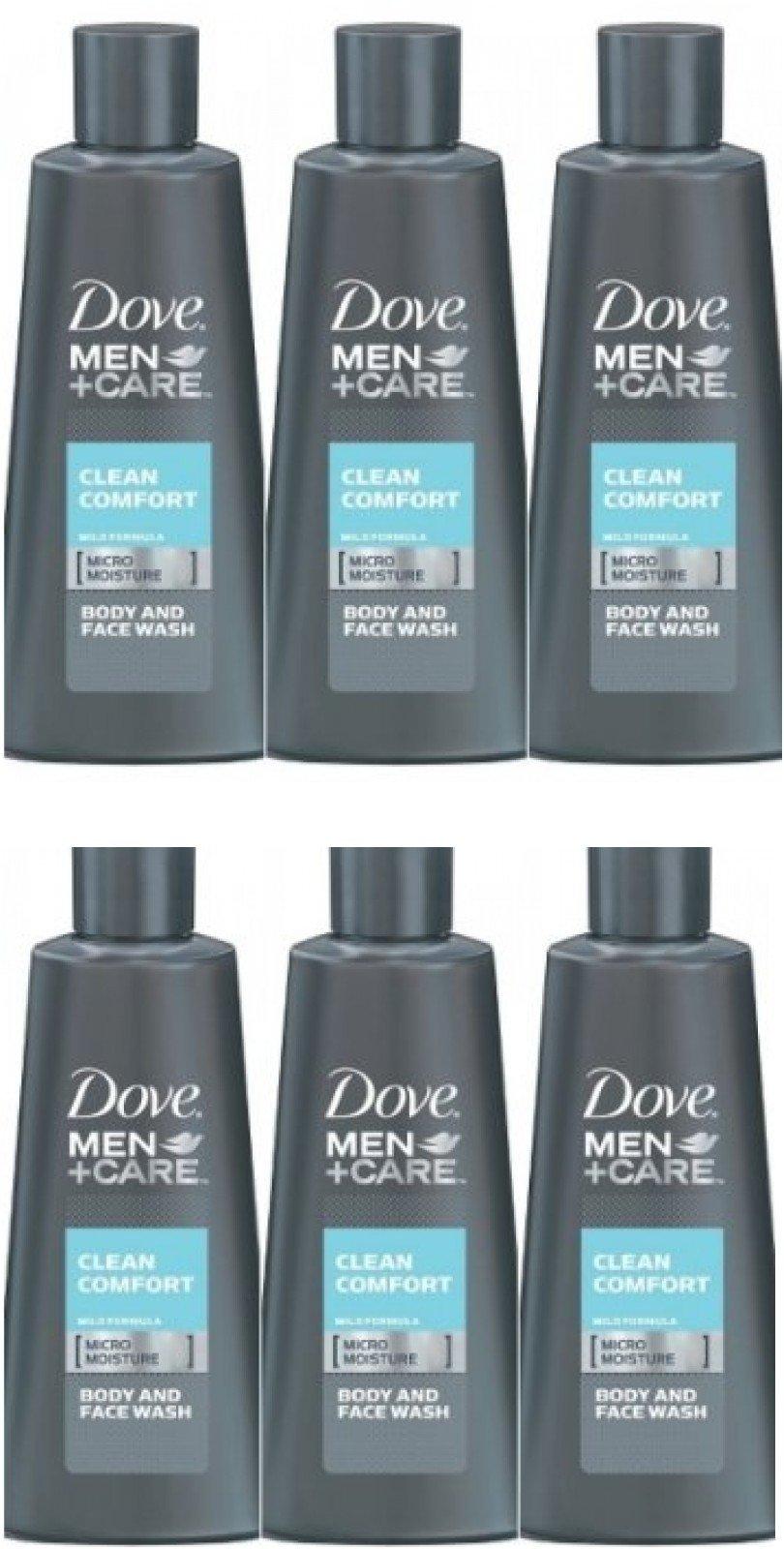 Dove Mens Care Clean Comfort Micro Moisture Body Wash Travel Size 3 Ounce 6 Pk