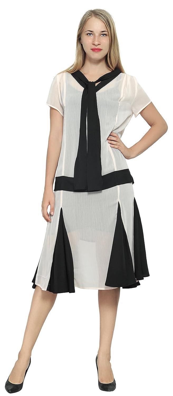 1920s Day Dresses, Tea Dresses, Mature Dresses with Sleeves Marycrafts Woment Drop Waist 1920s Lined Floral Godet Dress $36.90 AT vintagedancer.com