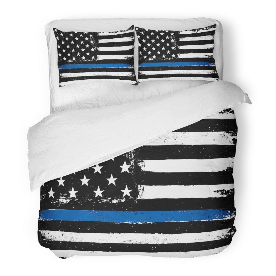 SanChic Duvet Cover Set America Thin Blue Line Black Flag Police Glory Hero Honor Officer Decorative Bedding Set 2 Pillow Shams King Size