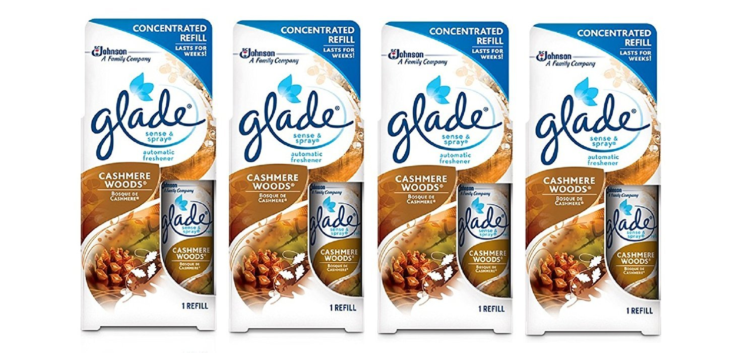 Glade Sense & Spray Automatic Freshener Refill - Cashmere Woods - Concentrated Refill Lasts for Weeks - Net Wt. 0.43 OZ (12.2 g) Each Pack of 4 Refills, Brown by Glade