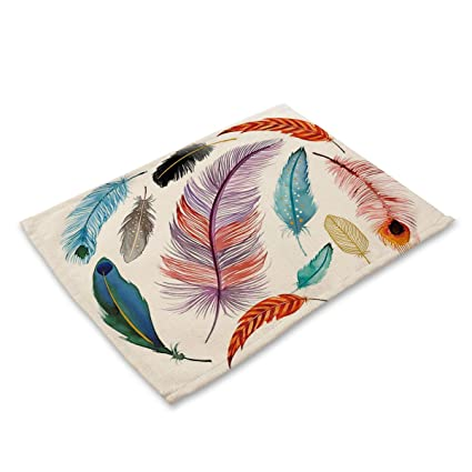 Native American Tribal Feathers Indian Spiritual Icon Cotton  Placemats,Washable Placemats Table Mats For Dining