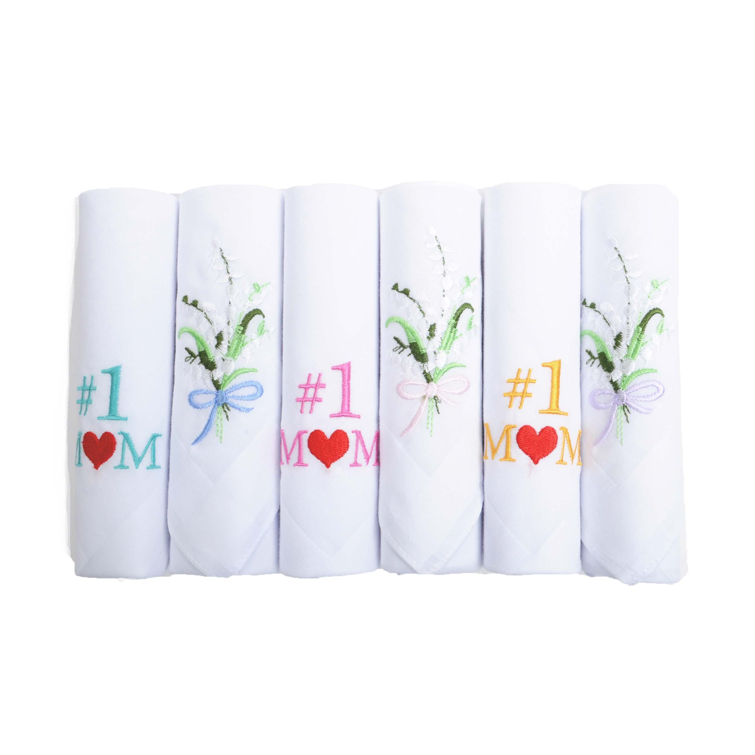 Boxed-Gifts #1 Mom 6pc Assorted Handkerchief Set