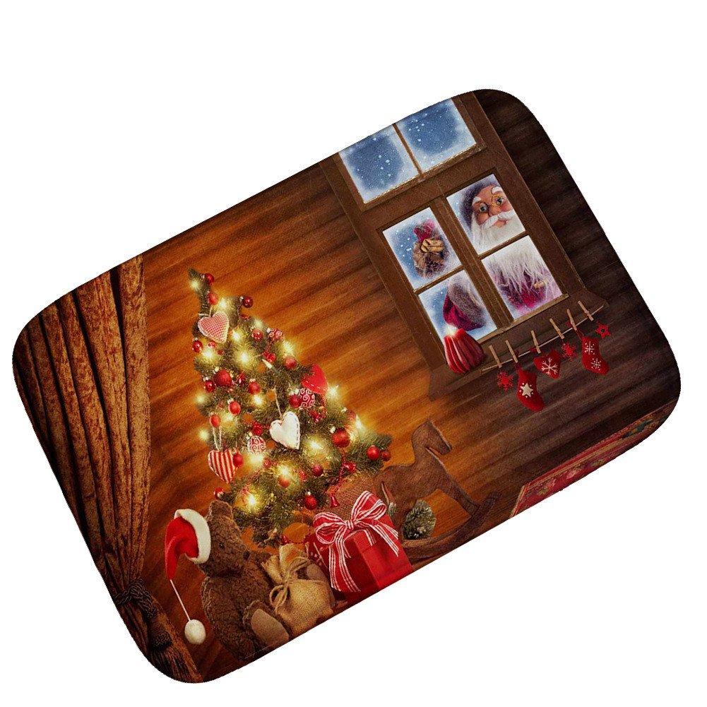 Pgojuni Home Decor Merry Christmas Santa Clay Year Carpet Year Foot Pad 1PC 40x60CM (D)
