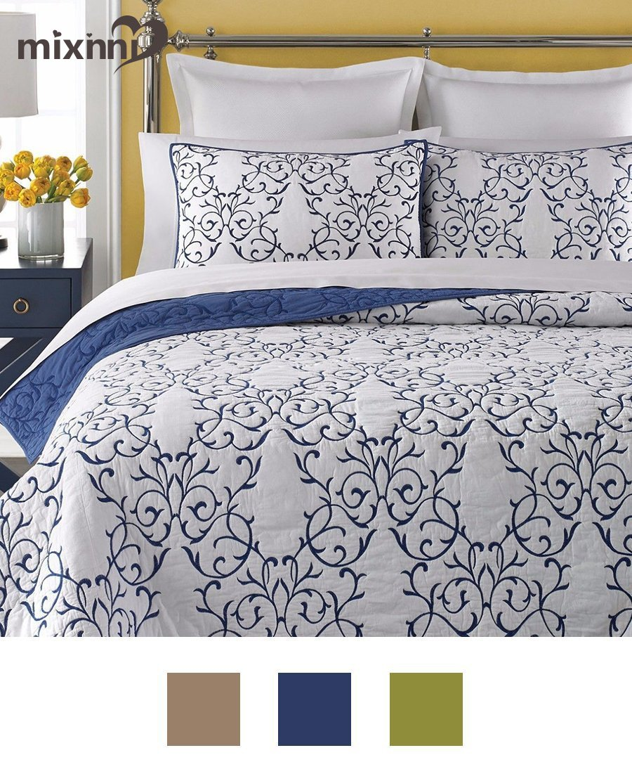 mixinni Reversible 100% Cotton 3-Piece Royal Blue Embroidery Pattern Elegant Quilt Set with Embroidered Decorative Shams Soft Bedspread&Coverlet Set-Full/Queen by by mixinni