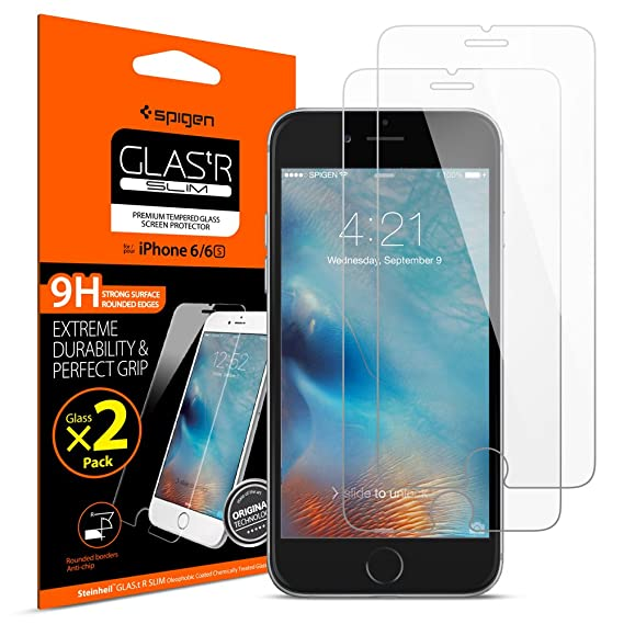 new styles bfa32 17472 Spigen Tempered Glass iPhone 6s Screen Protector [ Case Friendly ] [ 9H  Hardness ] for iPhone 6 / iPhone 6s (2 Pack)