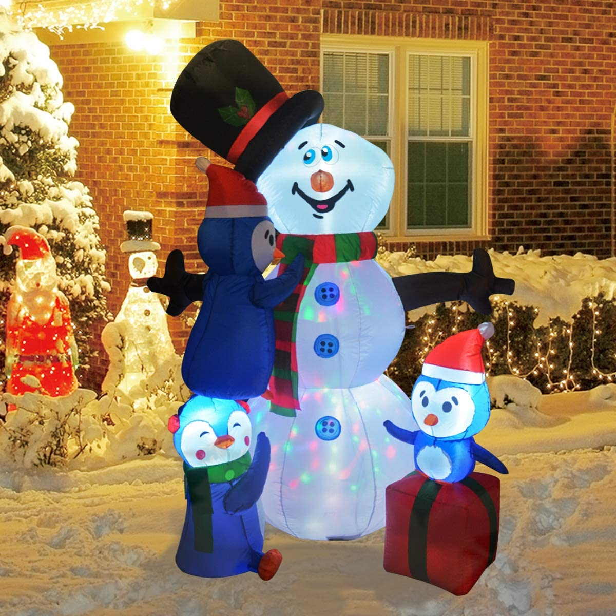 GOOSH Christmas Inflatable Snowman with Branch Hand LED Lights Indoor-Outdoor Yard Lawn Decoration - Cute Fun Xmas Holiday Blow Up Party Display (6 Foot Tall Inflatable Snowman Penguin)