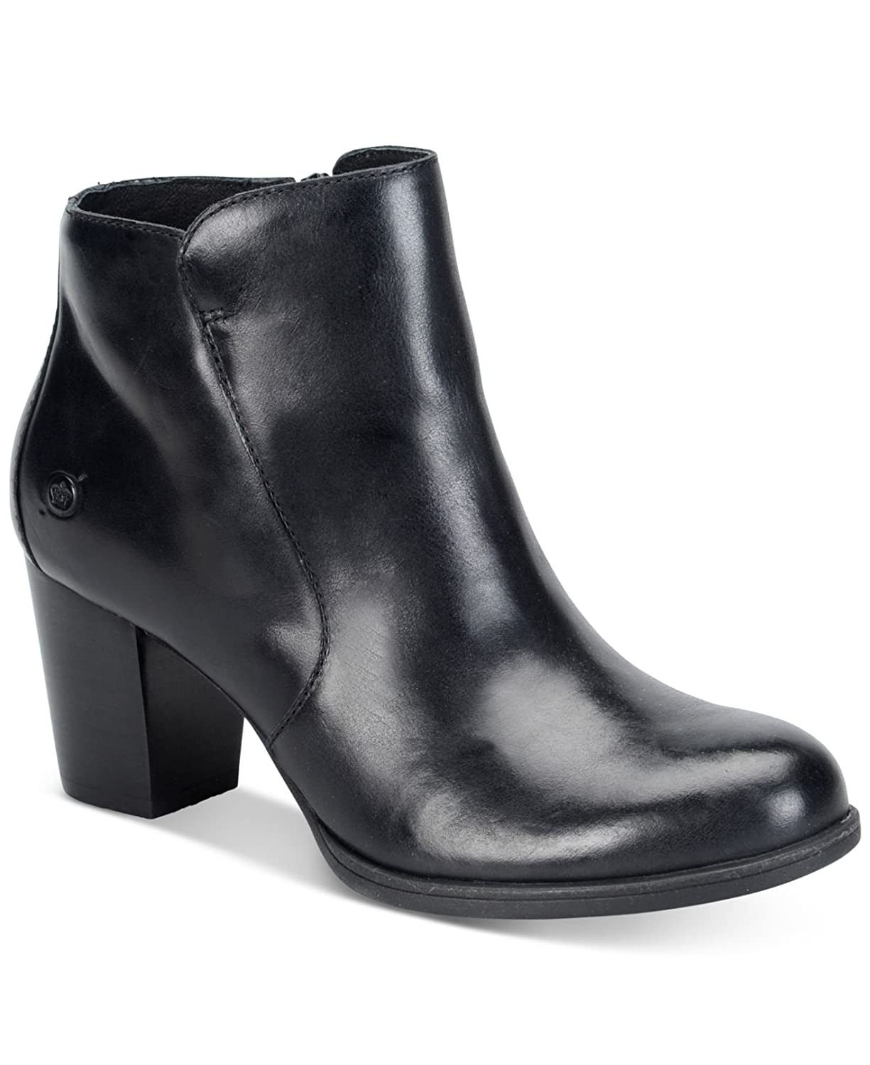 Born Womens Alter Leather Almond Toe Ankle Fashion Boots, Black, Size 8.5 -