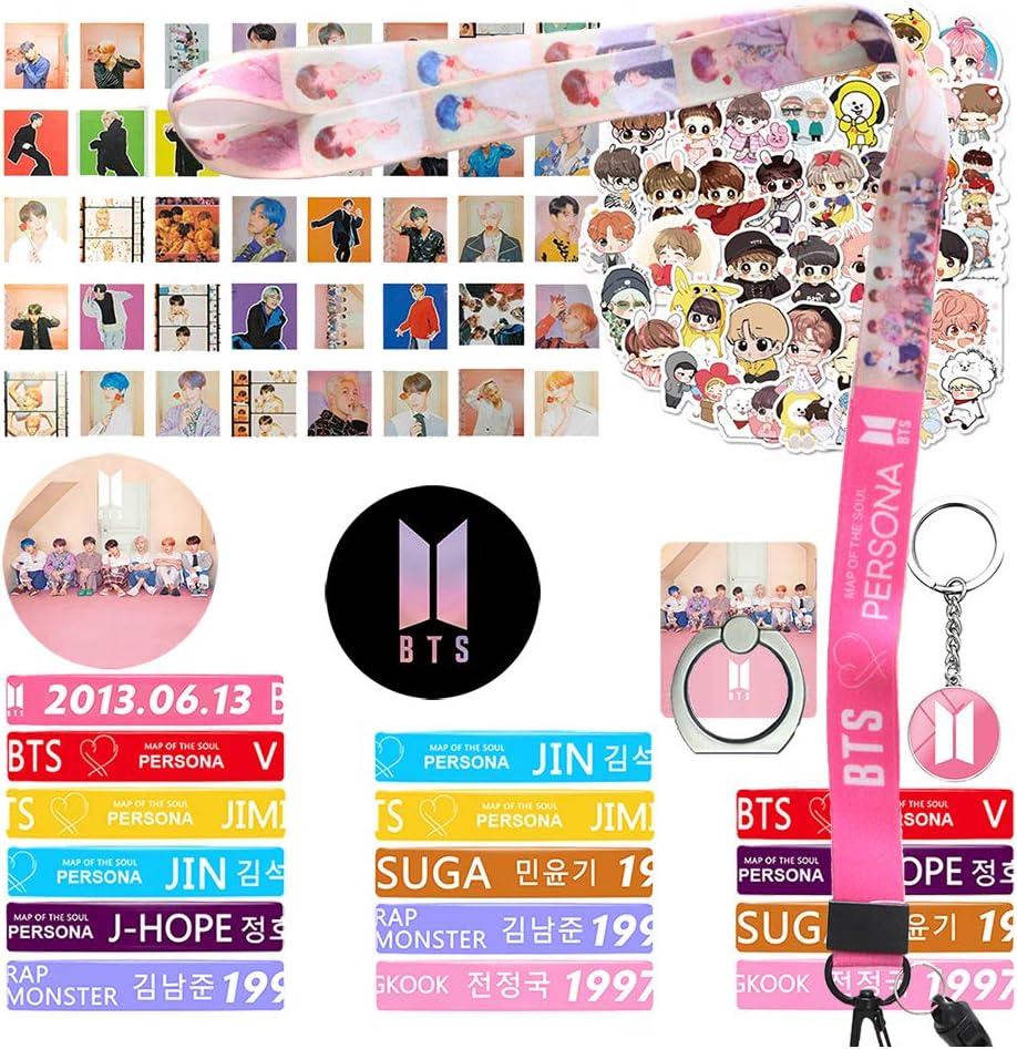 15 Bracelets 40 Lomo Cards 1 Lanyard 40 Stickers 1 Keychain 2 Button Pins 1 Phone Ring Bangtan Boys Gift Set Bracelet Set for Army Fans
