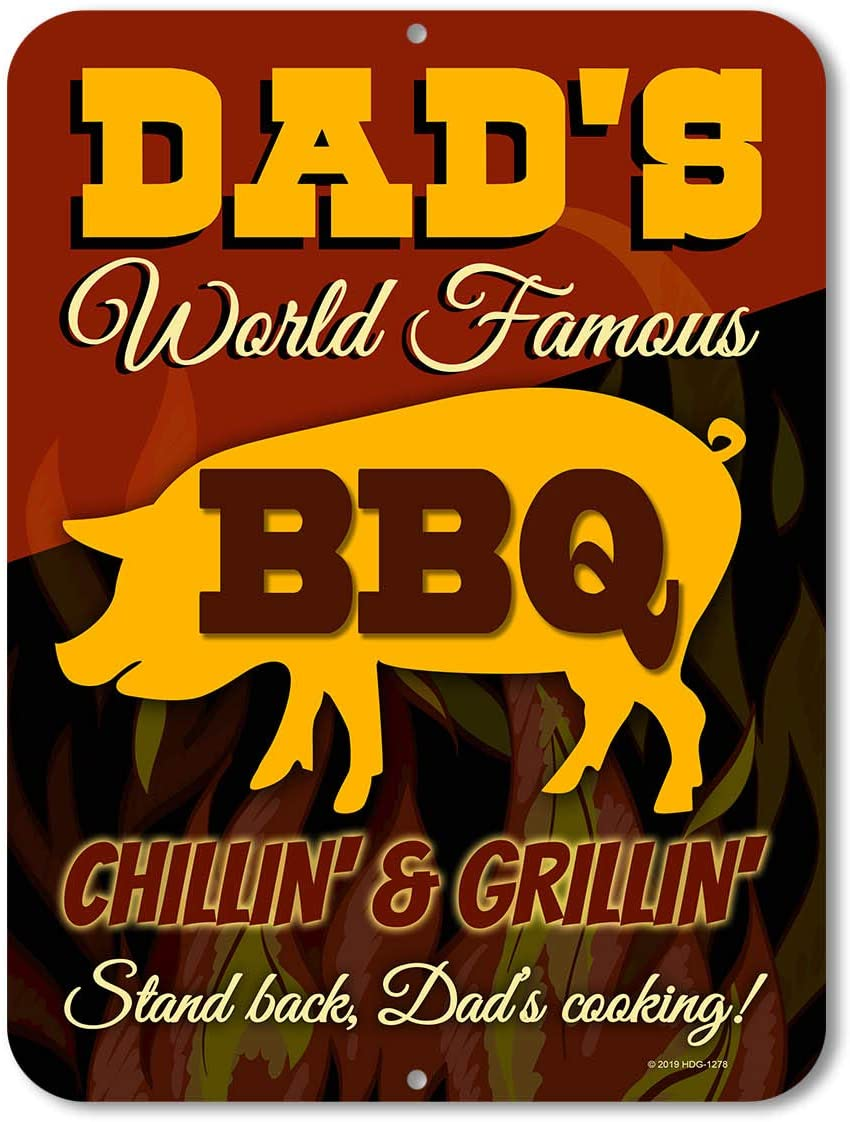Honey Dew Gifts Kitchen Decor Made in USA Dads World Famous BBQ Chillin /& Grillin 9 inch by 12 inch Man Cave Signs and Decor
