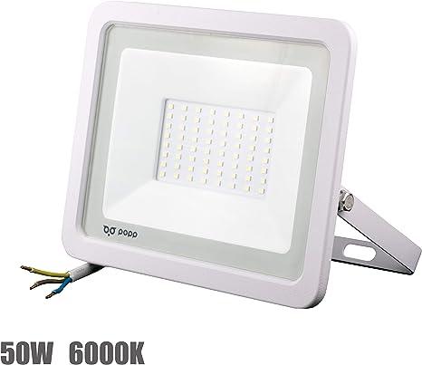 POPP® Foco Proyector LED 50W para uso Exterior Iluminación Decoración 6000K luz fria Impermeable IP65 Blanco transparente y Resistente al agua. (50): Amazon.es: Iluminación