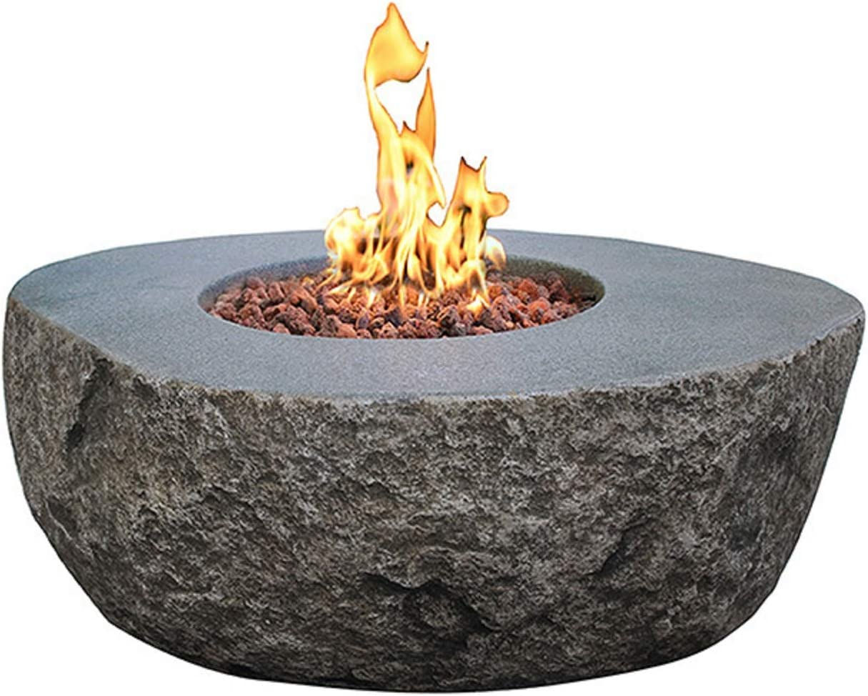 Fire Sense Langhorne Barnwood Square Aluminum LPG Fire Pit Table 50,000 BTU Output Uses 20 Pound Propane Tank Fire Bowl Lid, Vinyl Weather Cover, and Clear Fire Glass Included Lightweight Outd