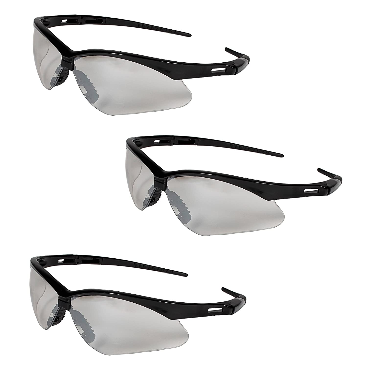098ad618ff2 Jackson Safety V30 25685 Nemesis Safety Glasses 3000357 (3 Pair) (Black  Frame with Indoor Outdoor Lens) - - Amazon.com