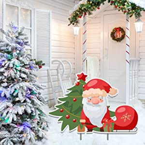 Jolly Santa Ornaments Yard Sign, Christmas Tree Outside Decorations Lawn Sign 18x12inches, Xmas Holiday House Party Decor Display Banner with Stakes for Outdoor Patio Garden, Home Gift Present Idea