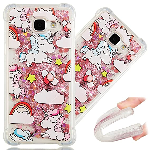finest selection 699b4 06f03 A5 2016 Case, 3D Cute Painted Glitter Liquid Sparkle Floating Luxury Bling  Quicksand Shockproof Protective Bumper Silicone Case Cover for Samsung ...