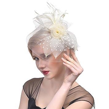 14d2295716fdf Penin Women S Hat Clips Elegant Feather Headwear Hat Clip Party Wedding  Bridal Birdcage Veil 2018 Hair