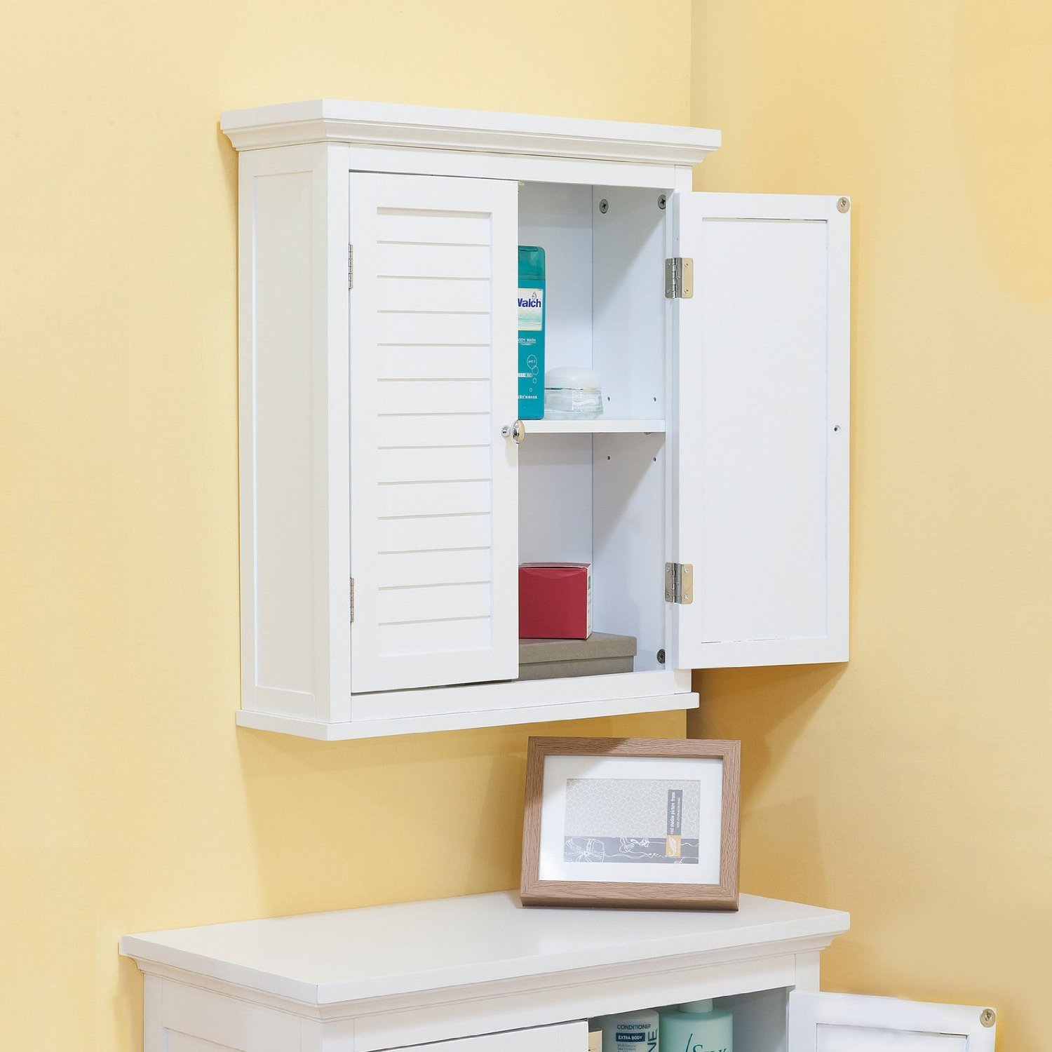 Bathroom Cabinet With Shutter Doors, White