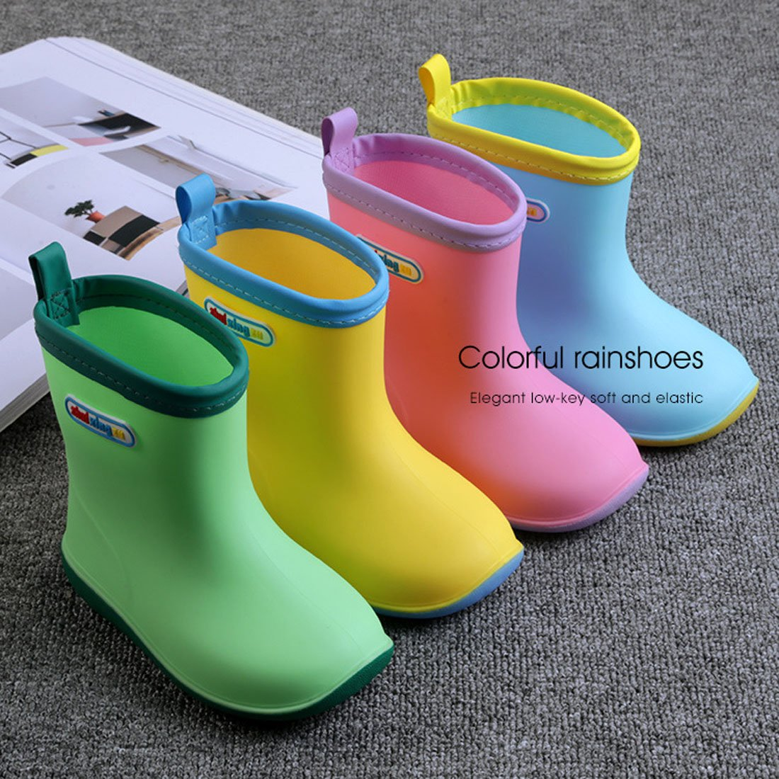 Asgard Cute Rain Boots for Kids Waterproof Candy Color Ankel Rubber Boots, with Warm Cosy Soft Socks B16 by Asgard (Image #2)