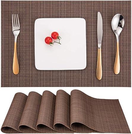 Myir Set De Table Lot De 6 Set Table Lavable Resiste A La Chaleur