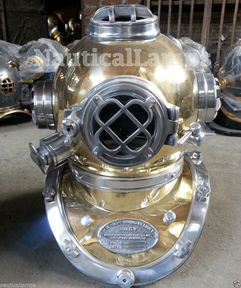 Solid Brass Antique U S Navy Mark V Diving Divers Helmet Full Size 18'' Replica