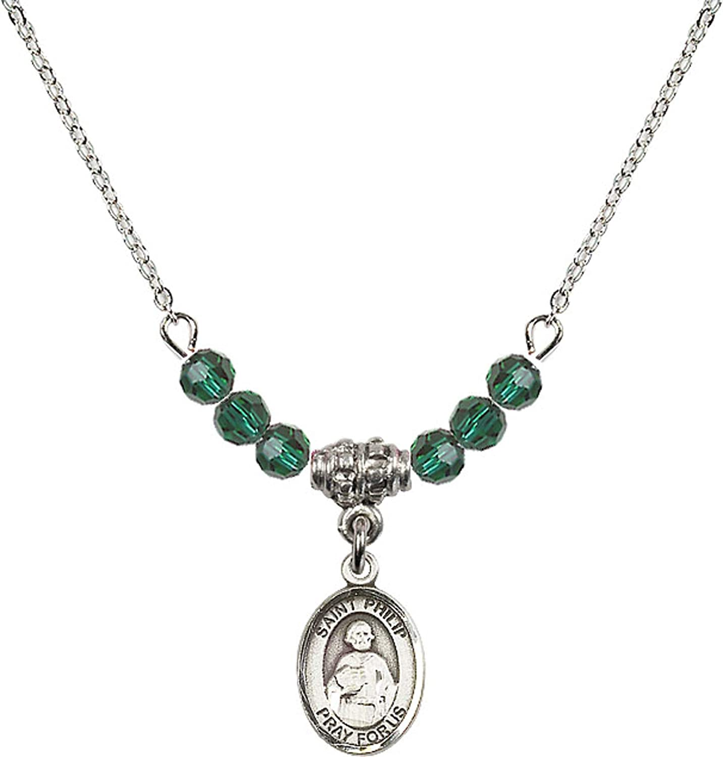 Bonyak Jewelry 18 Inch Rhodium Plated Necklace w// 4mm Green May Birth Month Stone Beads and Saint Philip The Apostle Charm