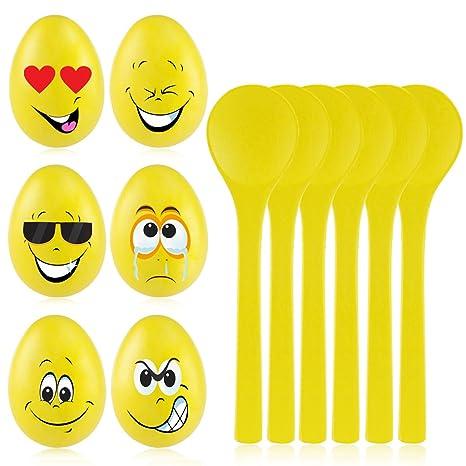 BESTOYARD Eierlauf Party Set Plastikeier für Ostern oder Kindergeburtstag Party