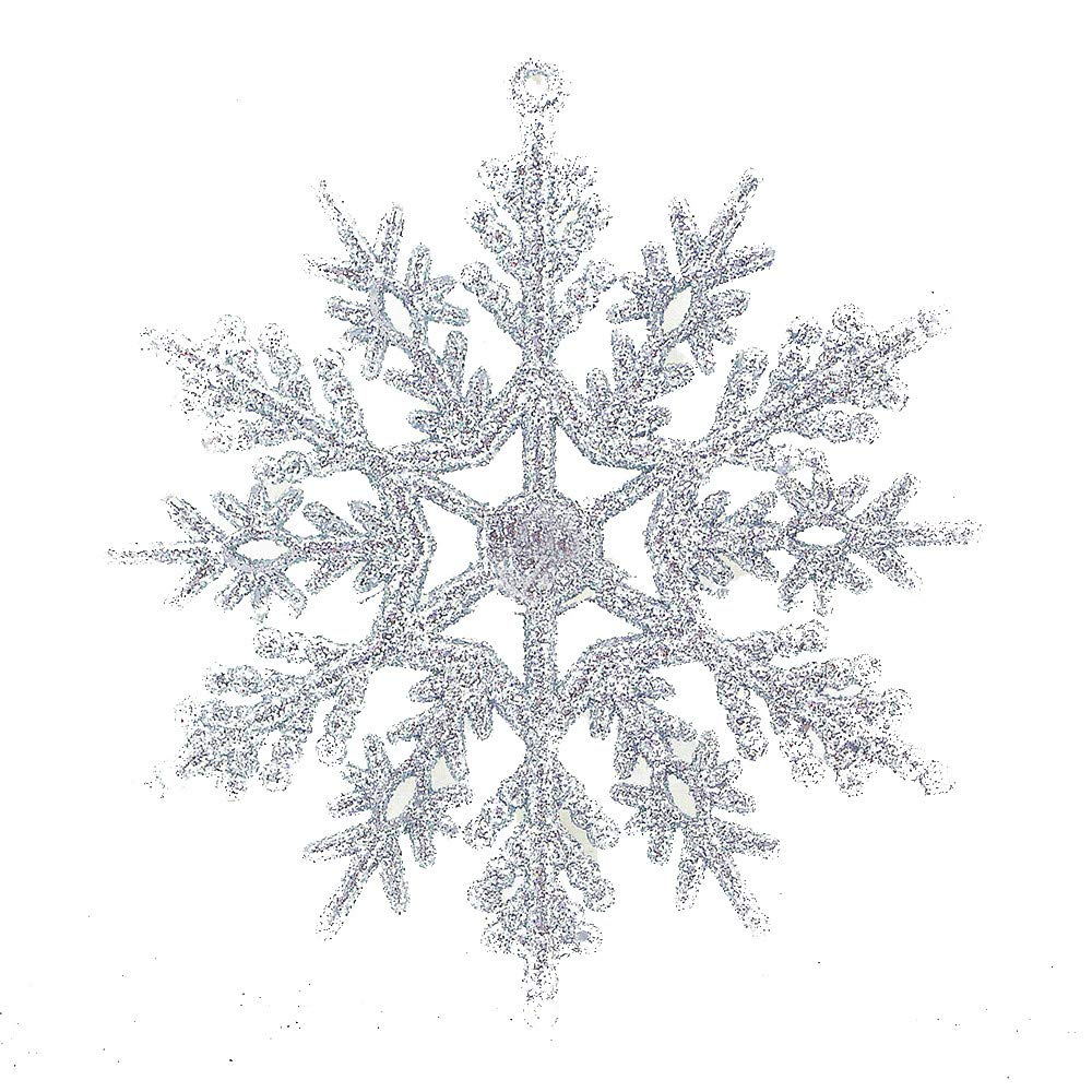 Cyhulu Glitter Christmas Snowflake Ornaments(Pack of 6Pcs), Hot Xmas Tree Snowflake Craft Party Home Hanging Decoration (Silver, One size)