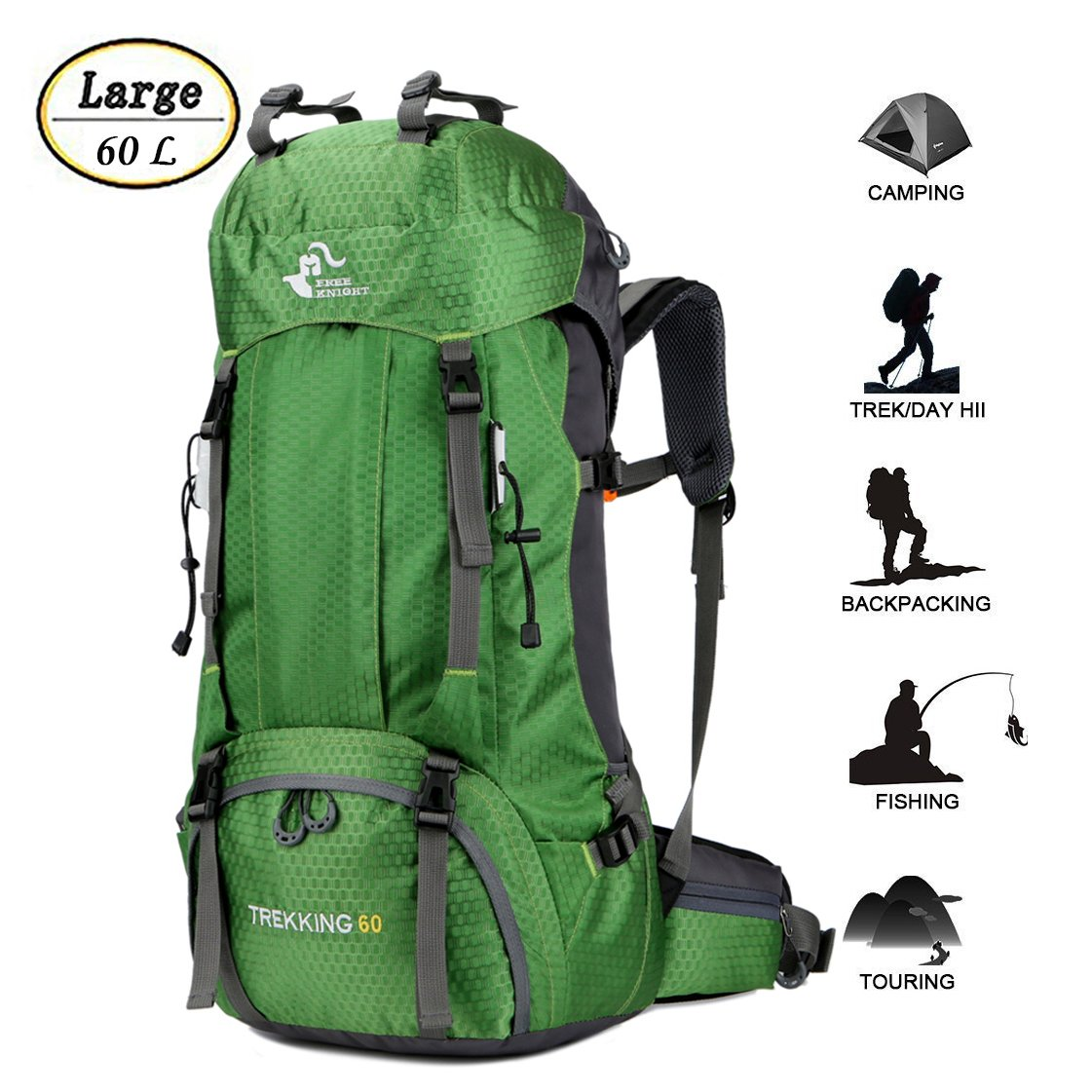 60L Waterproof Ultra Lightweight Hiking Backpack with Rain Cover ... b4ad963aeb402