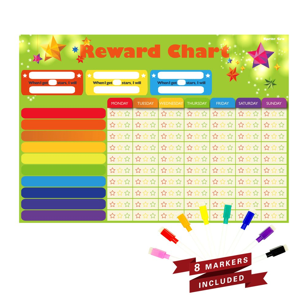 Magnetic Refrigerator Dry Erase Board Reward,Star,Resoposibility,Behavior, Chore Chart with 8 free colorful markers for One or Multiple Kids, Toddlers or Teens.16'' X 13''. Flat Pack.