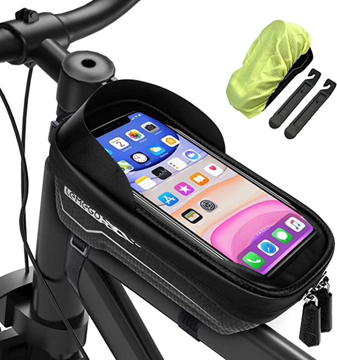 LAFALInK Bike Phone Front Frame Bag,Waterproof Bike Frame Bags with Touch Screen Case,Large Capacity Bike Phone Front Frame Bag,Perfect Compatible with cellphones Below 6.5 inches